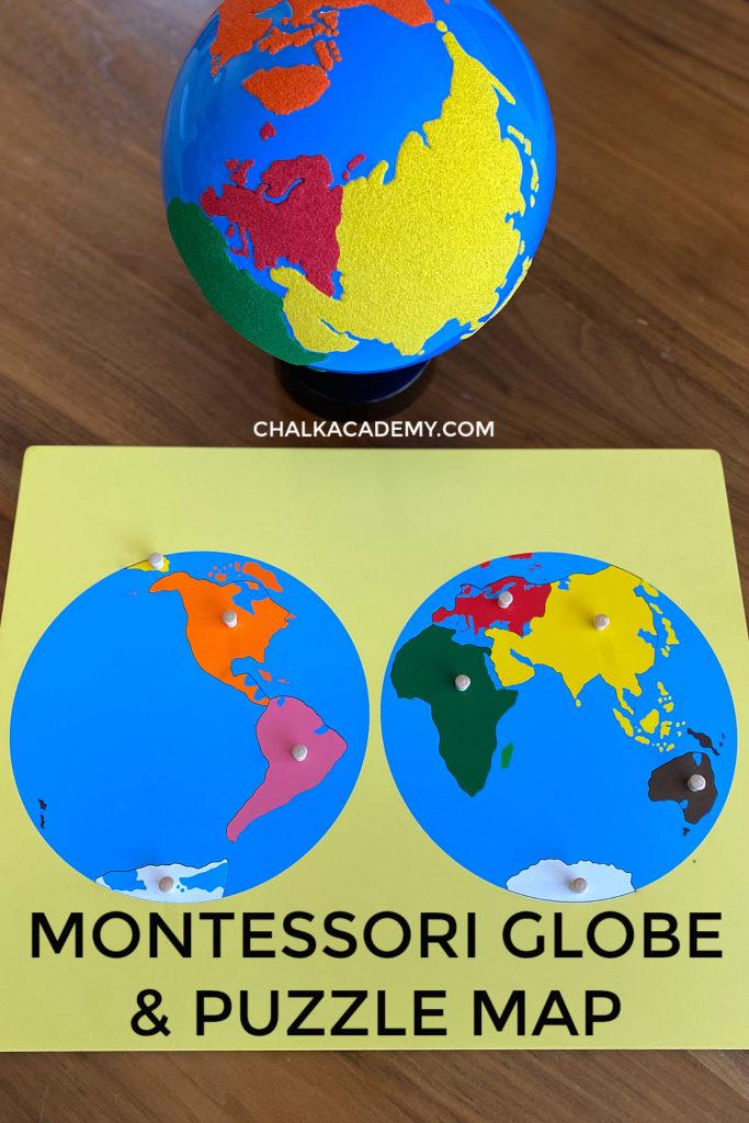 Montessori world globe and puzzle map for children in the primary years (preschool, Kindergarten)