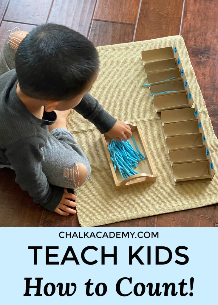 teach kids how to count with the Montessori spindle box - easy to DIY with recycled cardboard rolls!