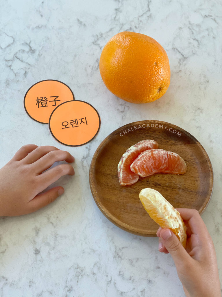 Eating oranges while reviewing the translations in Chinese and Korean