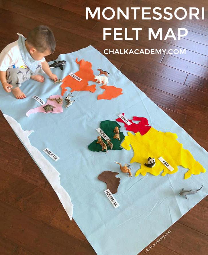 Montessori felt world map for kids