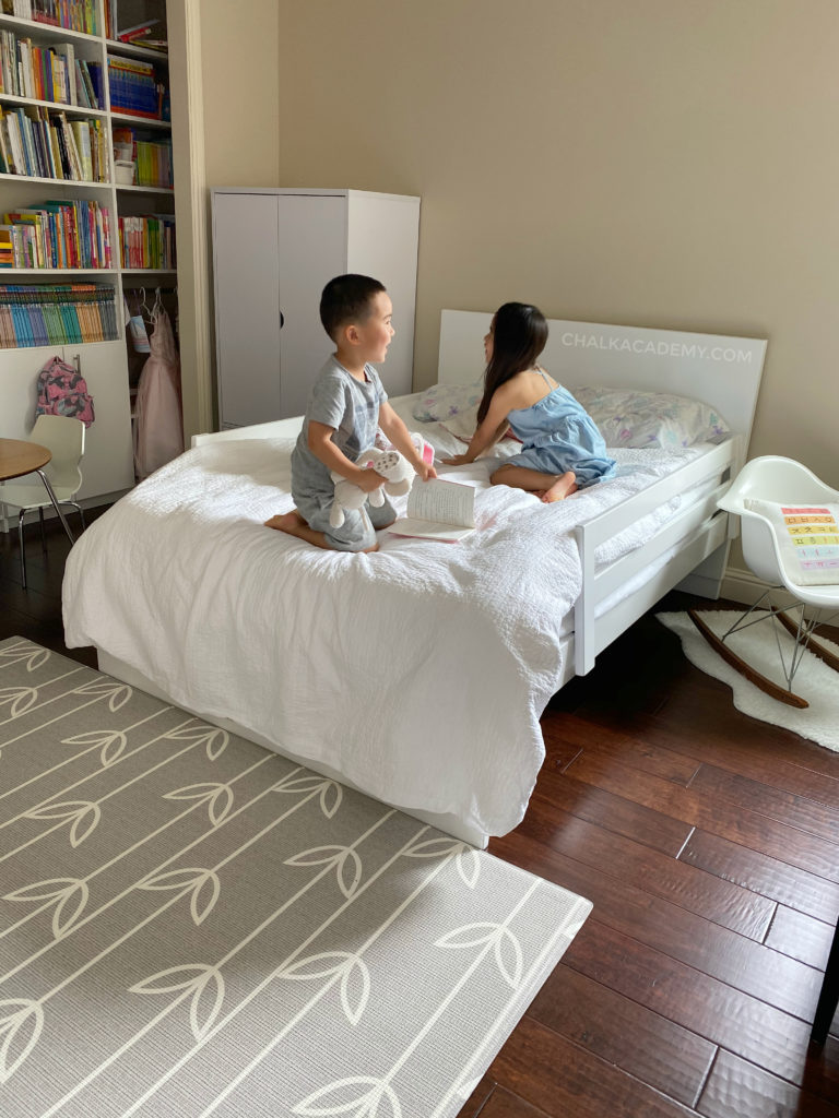 Room and board Moda bed - modern white kids' bedroom with home library; Modernica rocker