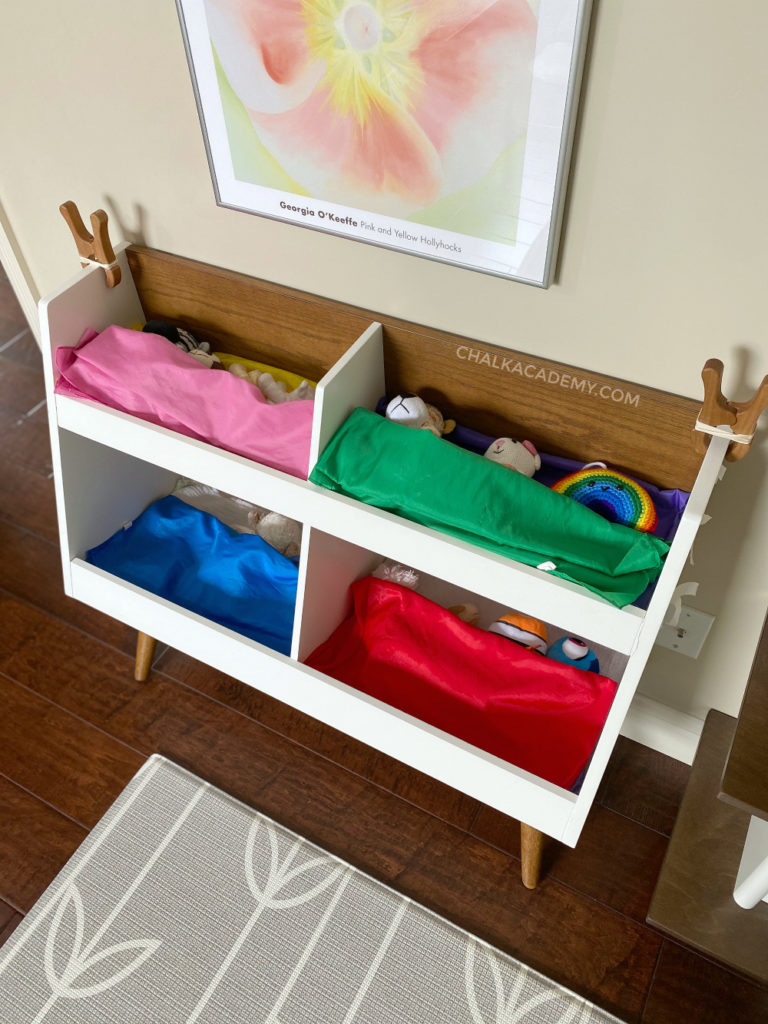 Crate and Barrel mid-century modern toy shelf