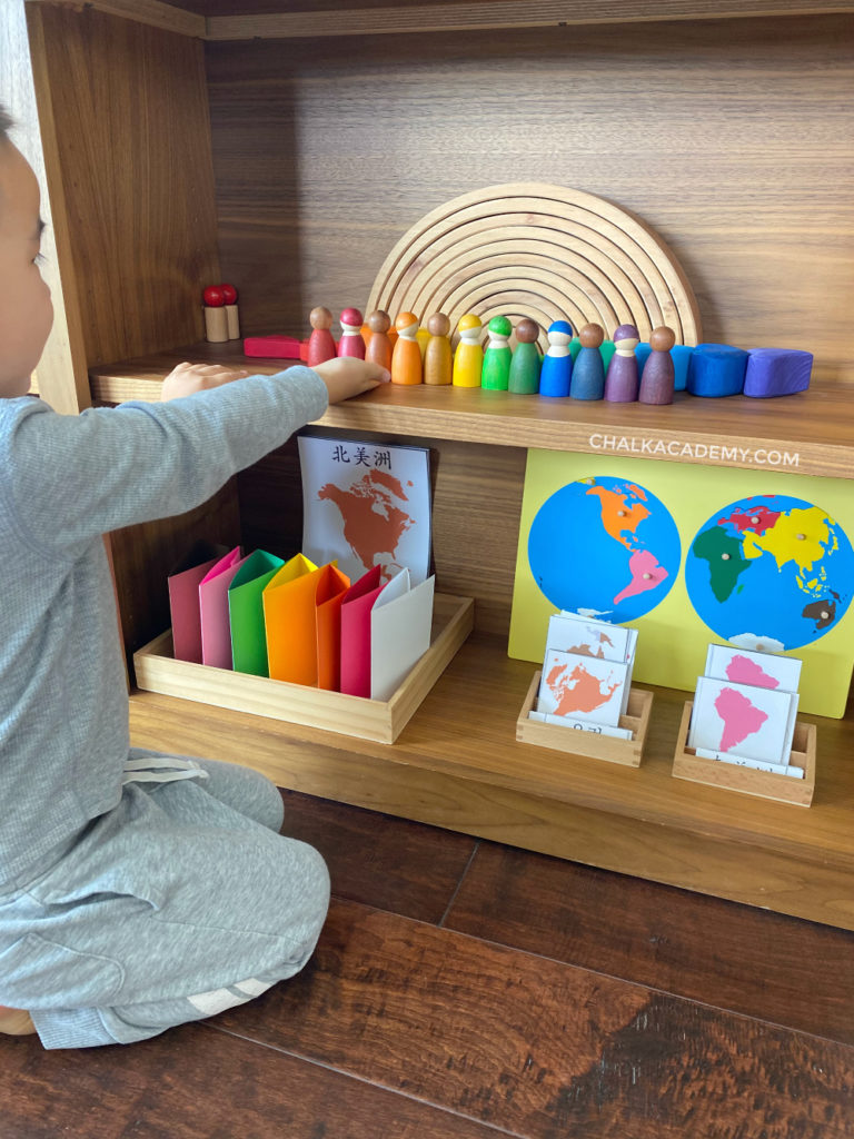 Wood toys and Montessori printable continent activities