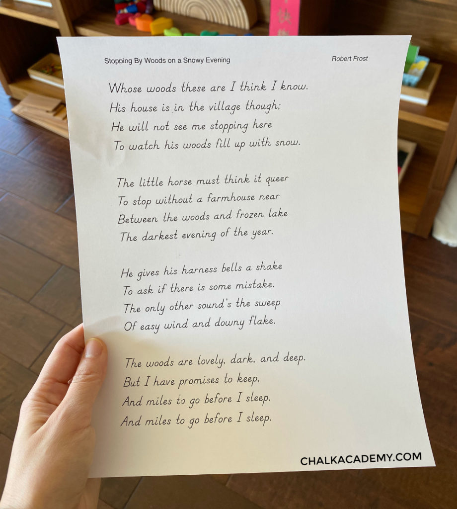 Typed out selected poem from Favorite Poems Old and New. Part-time homeschooling