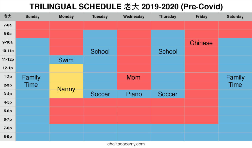 Trilingual schedule: Chinese, English Korean - sister