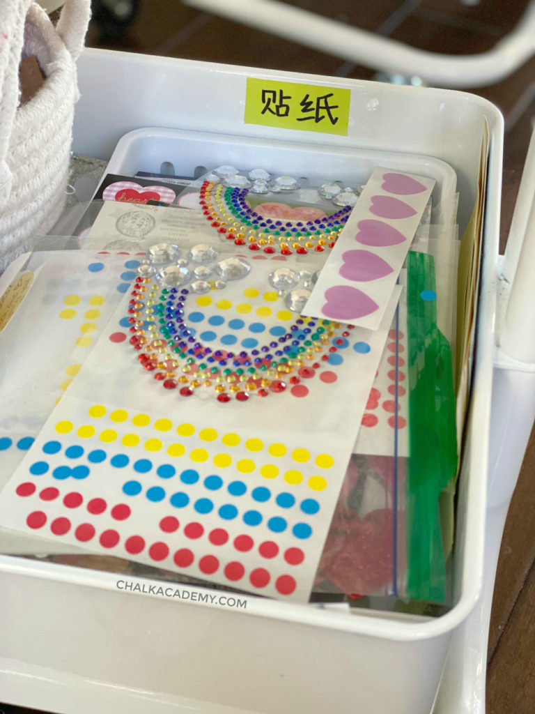 Rainbow stickers in our art cart