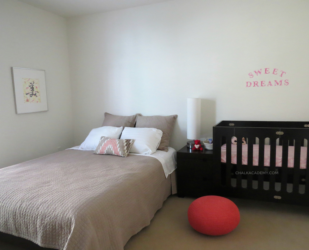 Combined bedroom and baby girl's nursery