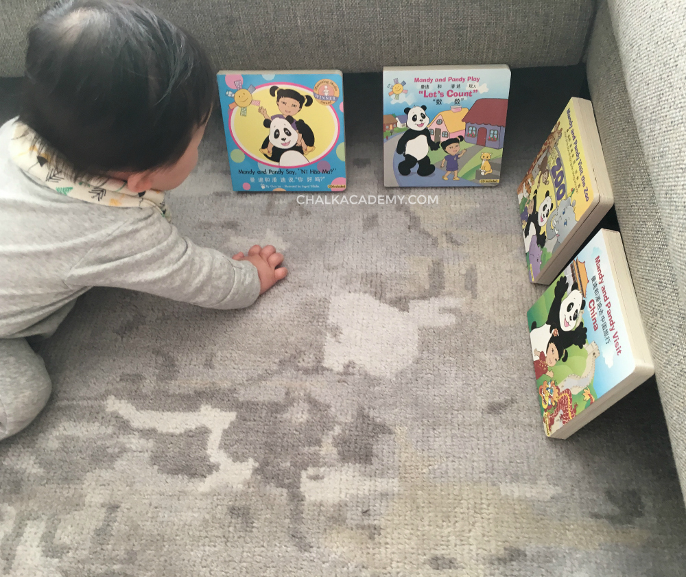 Putting Chinese board books near my son