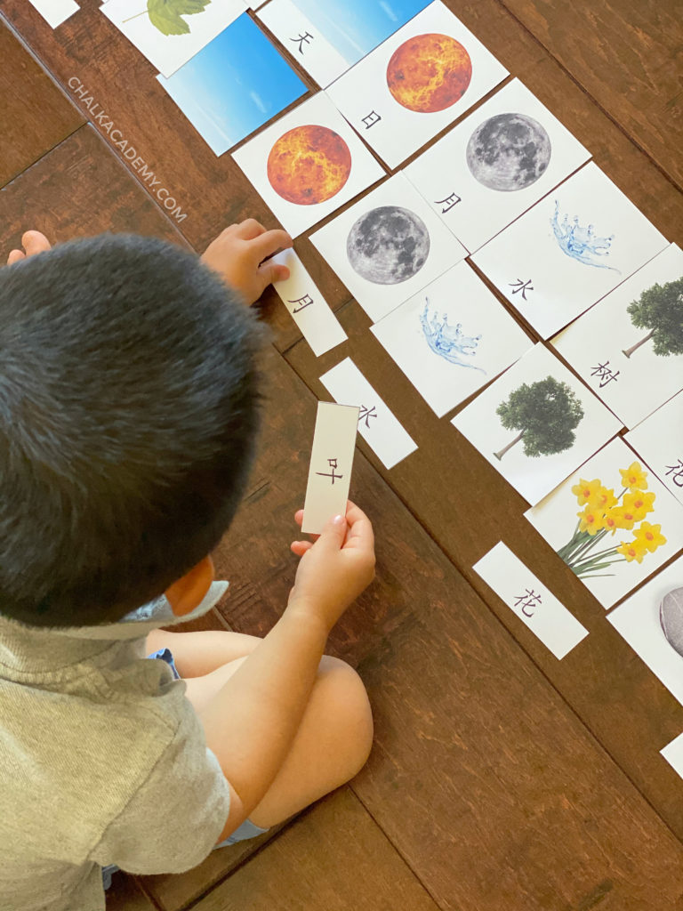 Preschool child matching Chinese characters on flashcards