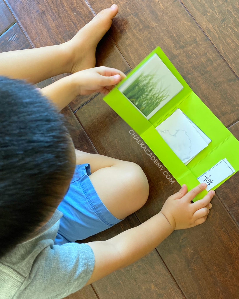 Printable folder for Montessori 3-part cards