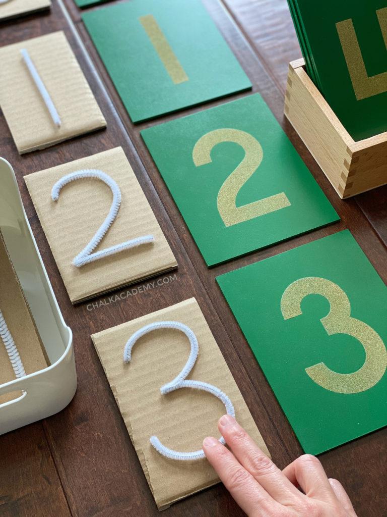DIY Montessori tactile pipe cleaner sandpaper numbers