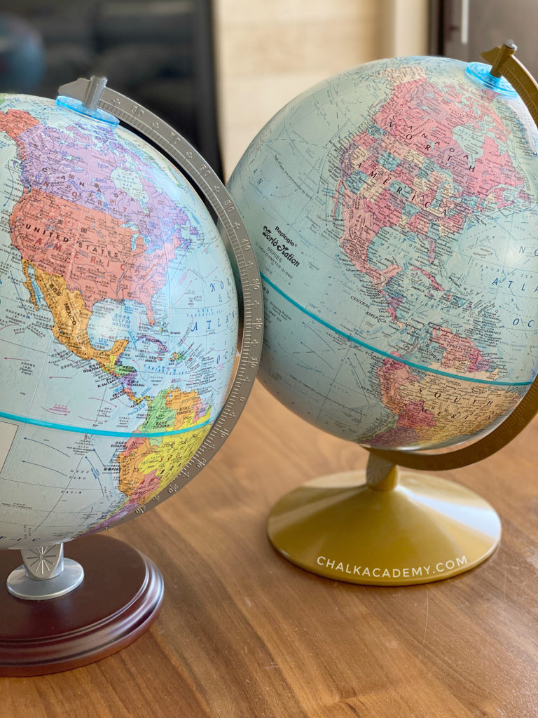Replogle political and topography globes - bilingual Chinese and English