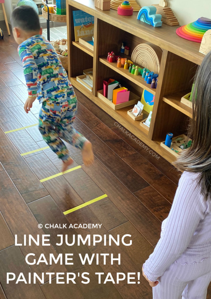 Line jumping indoor game with painter's tape
