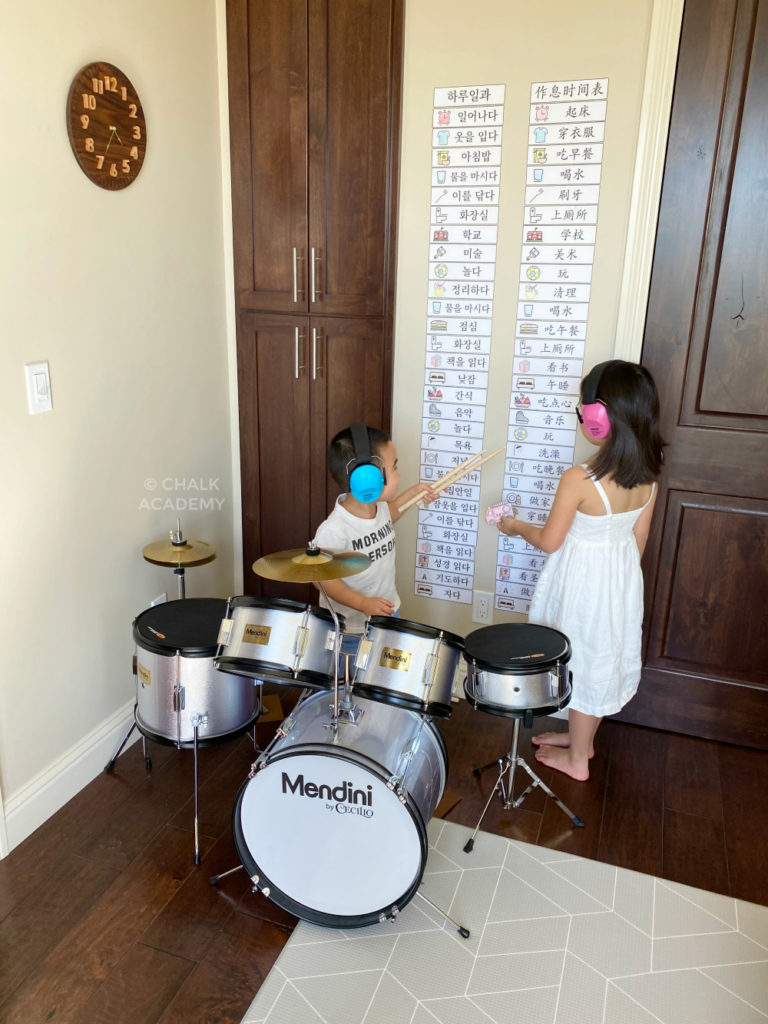 Choosing the First Instrument for Kids - Junior drum set - my son's first choice instrument at age 3 years