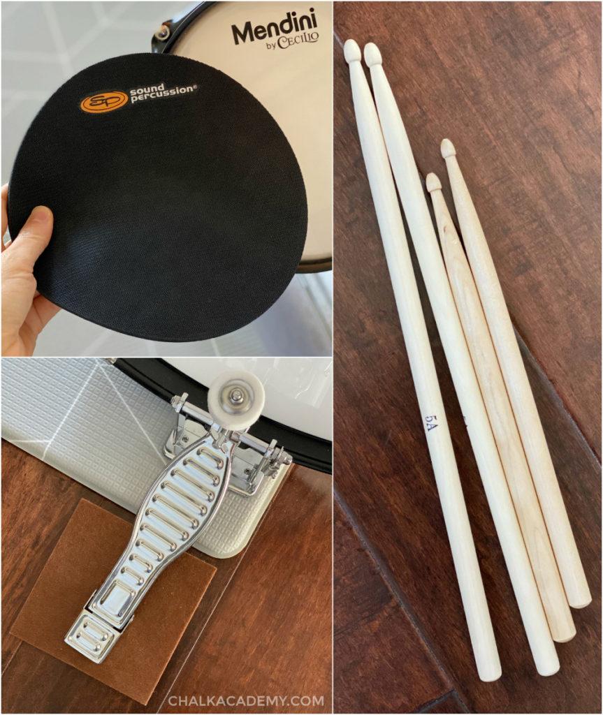Junior drum set accessories: drum mutes, drum sticks, felt pad under petal