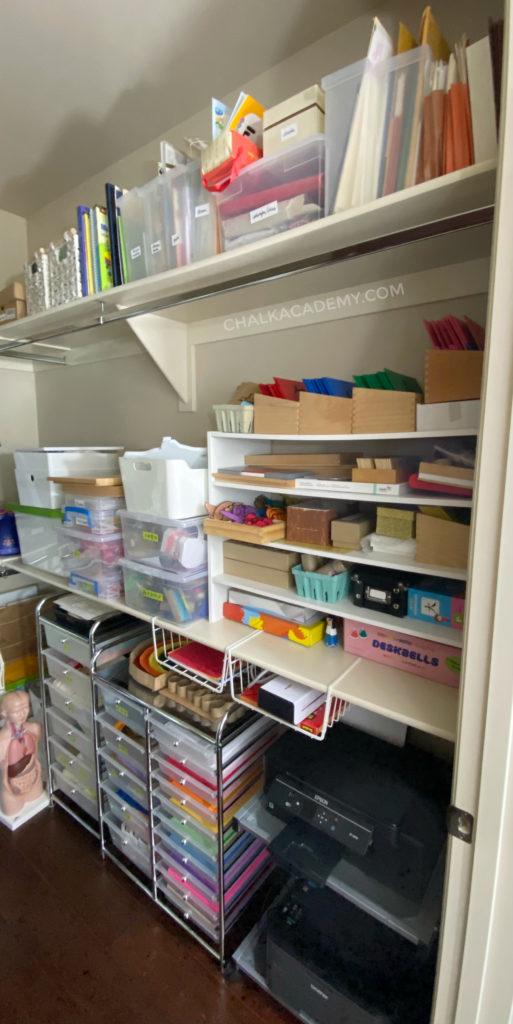 Montessori homeschool storage and organization