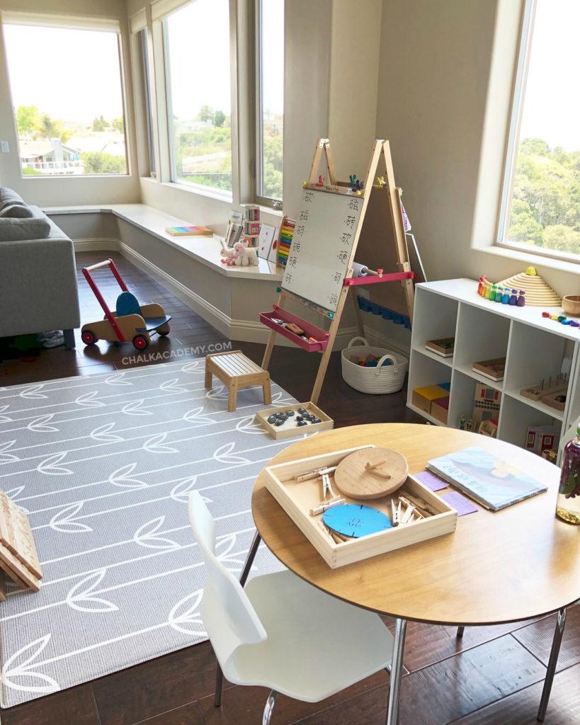 Montessori-inspired learning area for bilingual children