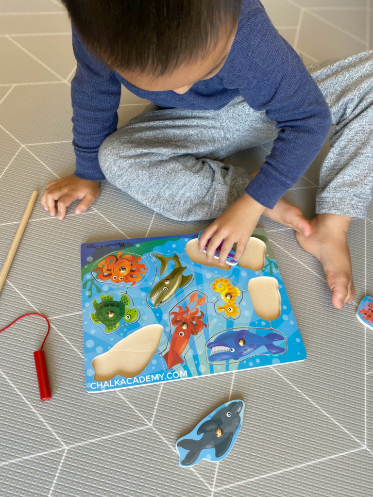 wooden fishing puzzle for toddlers