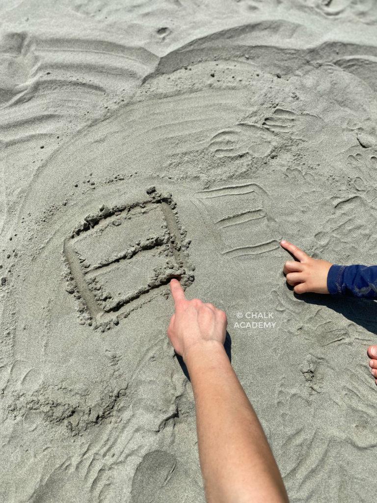 Chinese writing at the beach