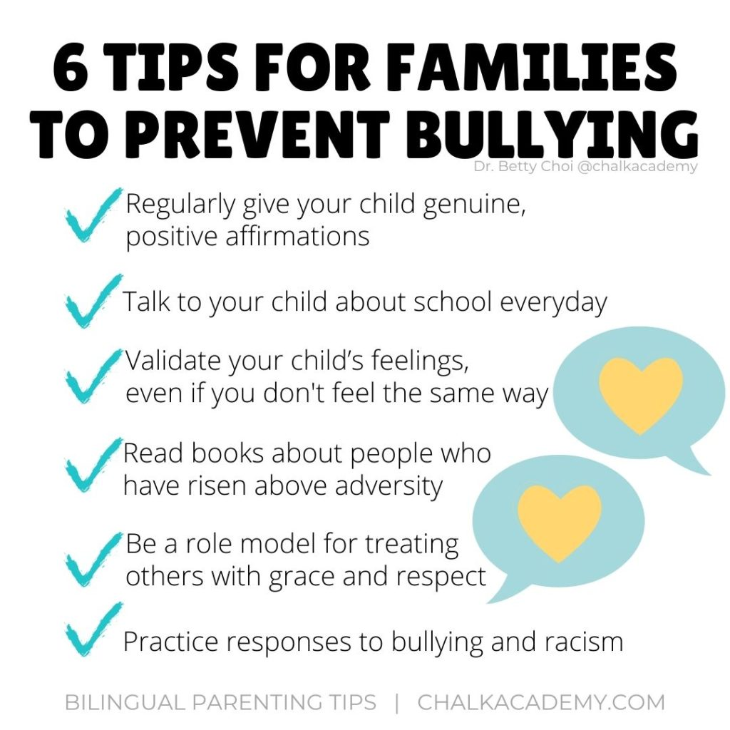 tips for for families to prevent bullying - infographic