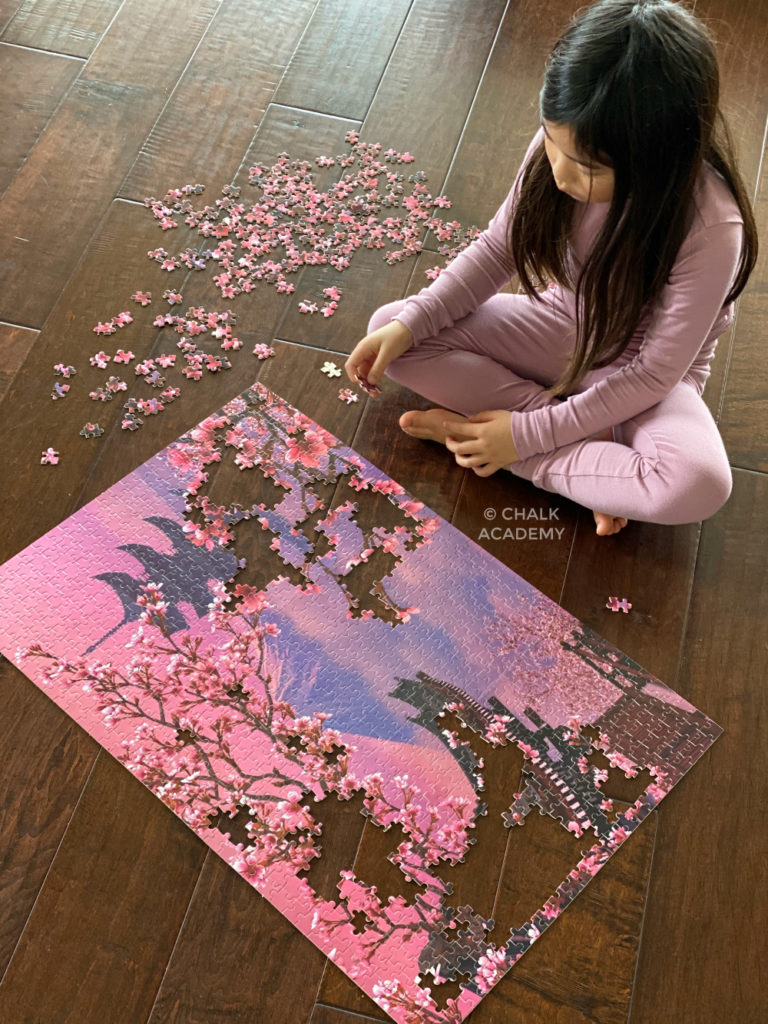 Challenging 1000-piece jigsaw puzzle - cherry blossoms