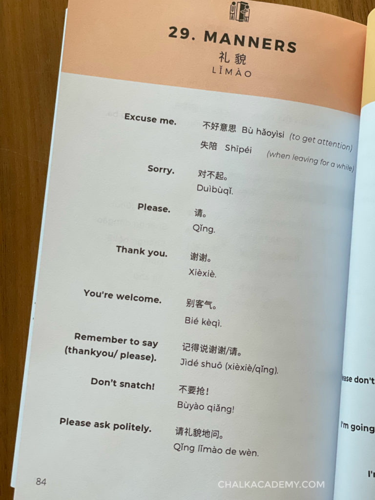 common Chinese parenting phrases about manners - Mandarin vocabulary