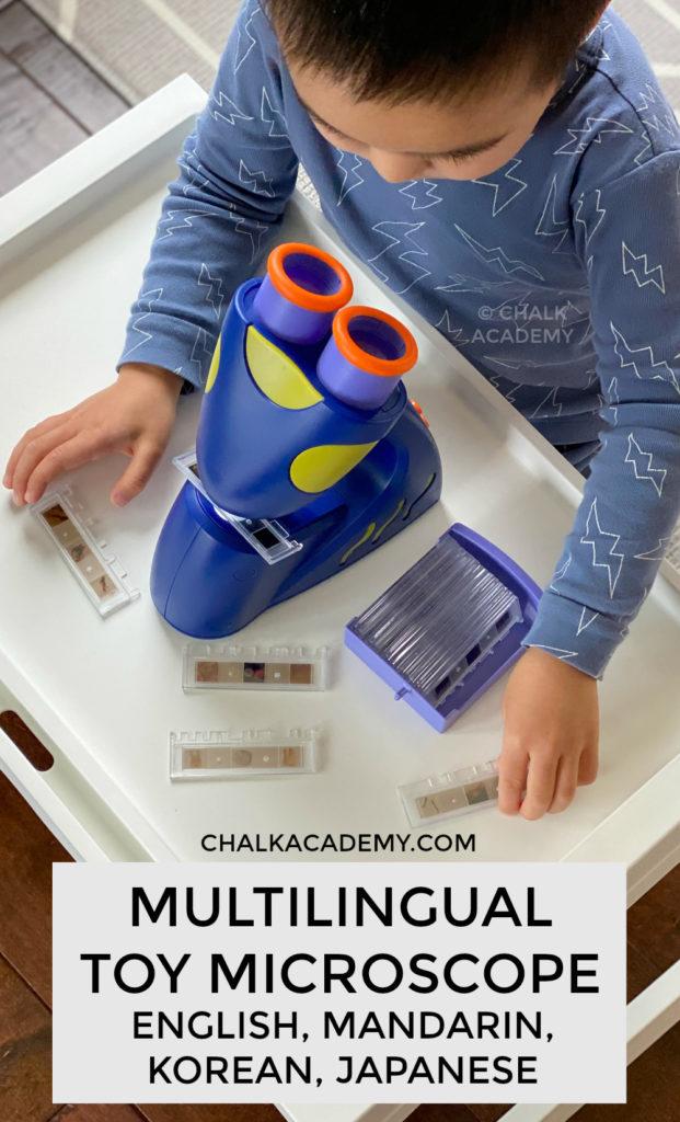 multilingual toy microscope - English, Mandarin, Korean, Japanese