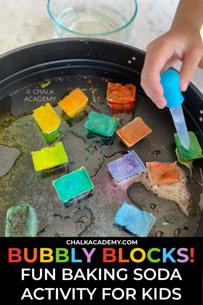 Bubbly blocks - baking soda vinegar kitchen science activity for kids