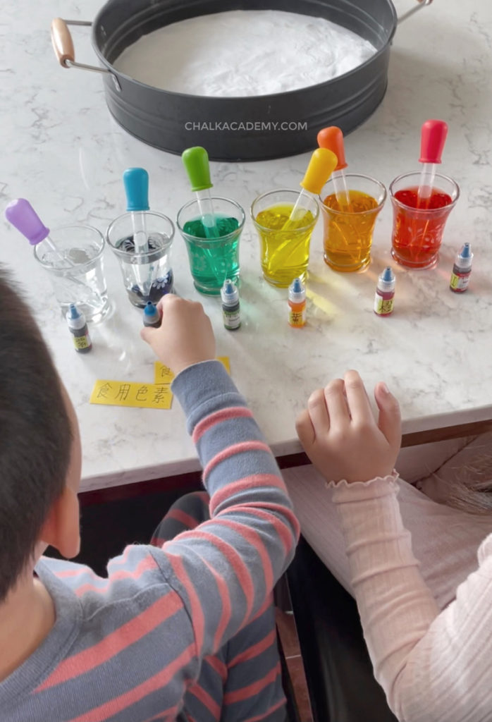 Adding food coloring to vinegar (acetic acide) with colorful pipettes