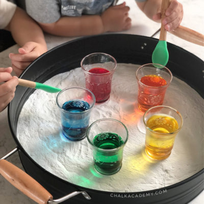 Baking soda + food coloring! Fun and easy science activity for kids