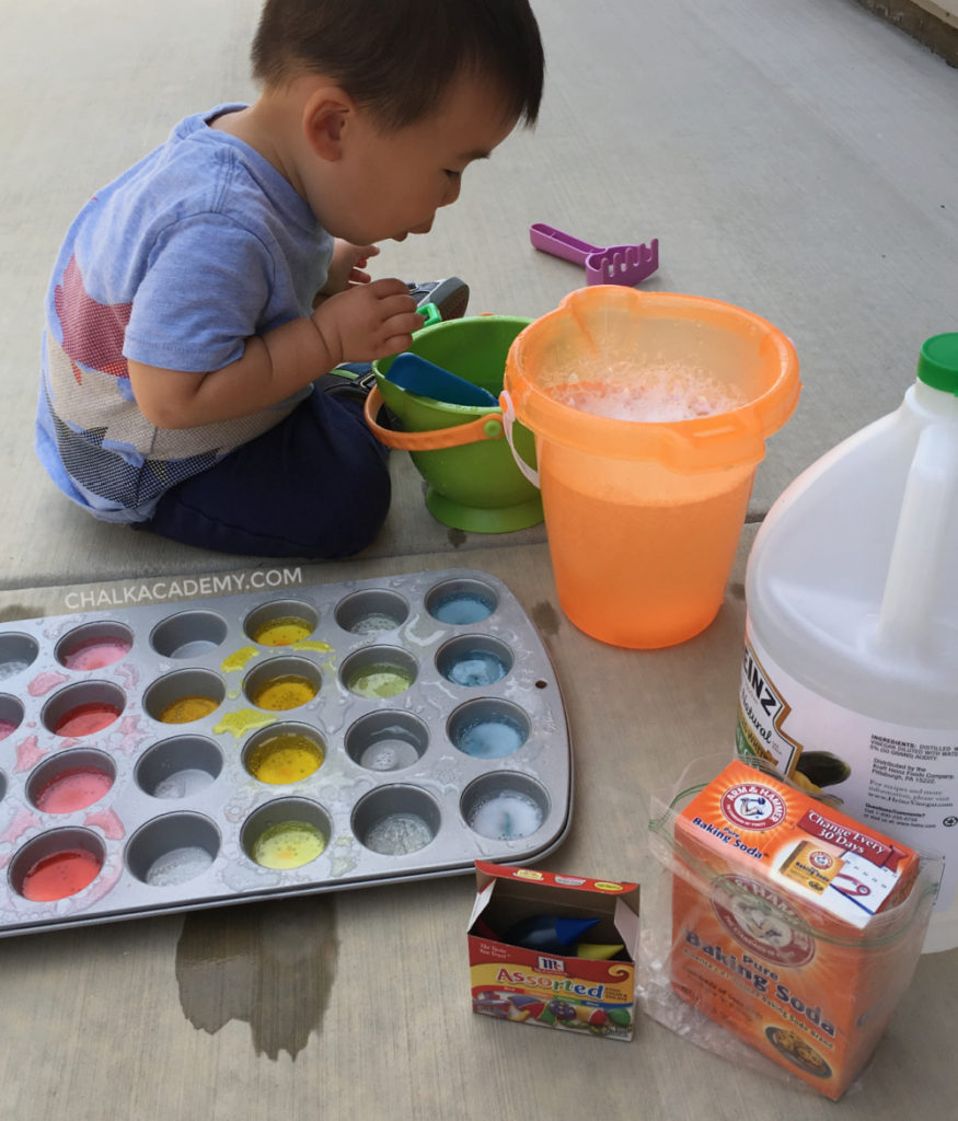 Baking soda vinegar muffin pan mystery colors activity kids science experiment