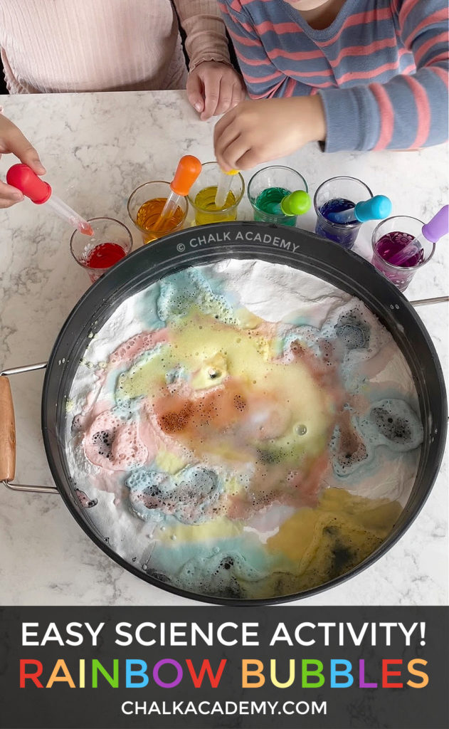Rainbow Bubbles Baking Soda Vinegar Food Coloring Easy Science Activity