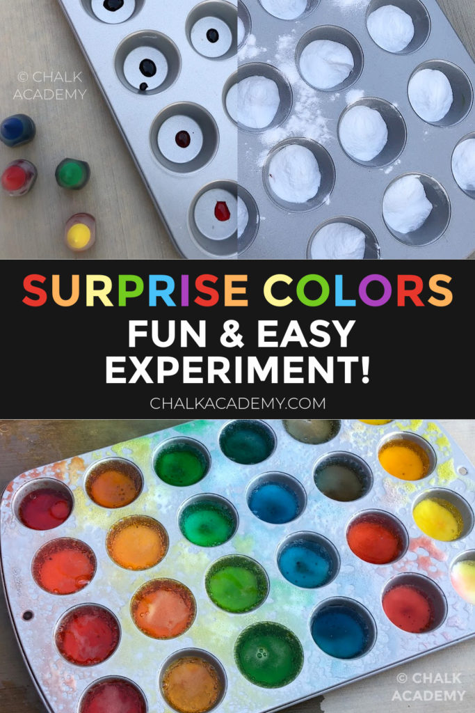 Surprise colors! Fun and Easy experiment with sodium bicarbonate, vinegar (acetic acid), and food coloring