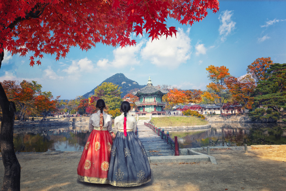 Friends wearing hanbok dress in Korea