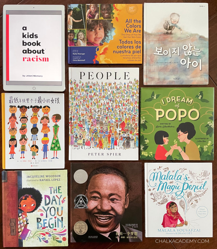 Anti-Racist Books for kids in Chinese, English, Korean; these books can help start conversations about racism
