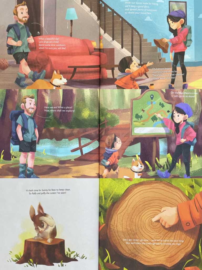 Let's Go on a Hike! 我们去远足吧!我們去遠足吧! Picture book about a mixed race Asian / Caucasian family.