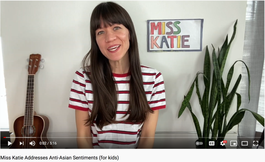 Miss Katie sings and talks about anti-Asian sentiments in a kid-friendly way