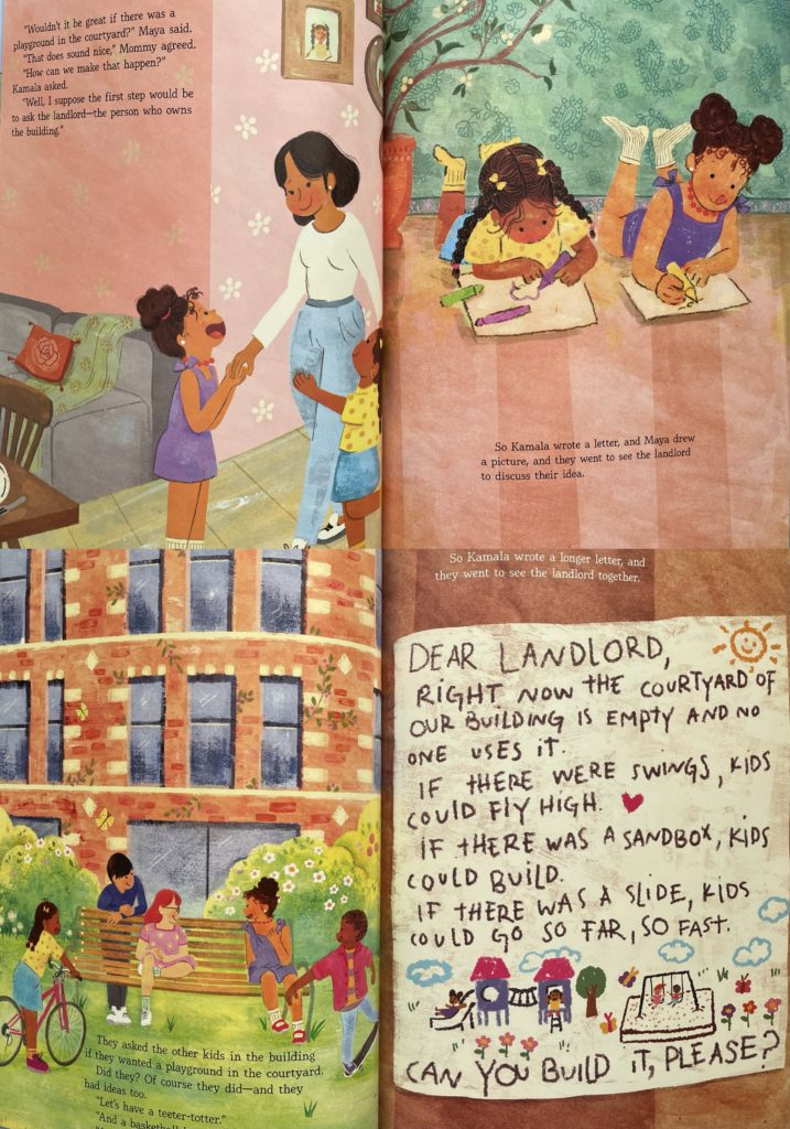 Kamala and Maya's Big Idea by Meena Harris - picture book with South Asian (Indian) and Black American family