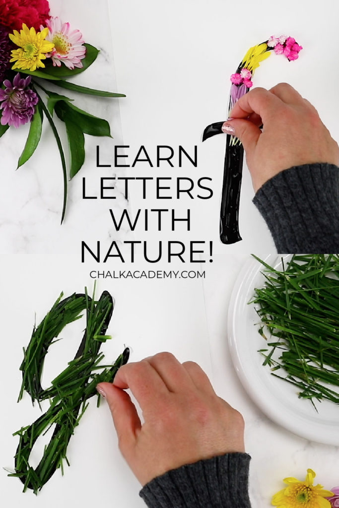 Learn English letters f and g with nature flowers and grass - outdoor hands-on fine motor activity