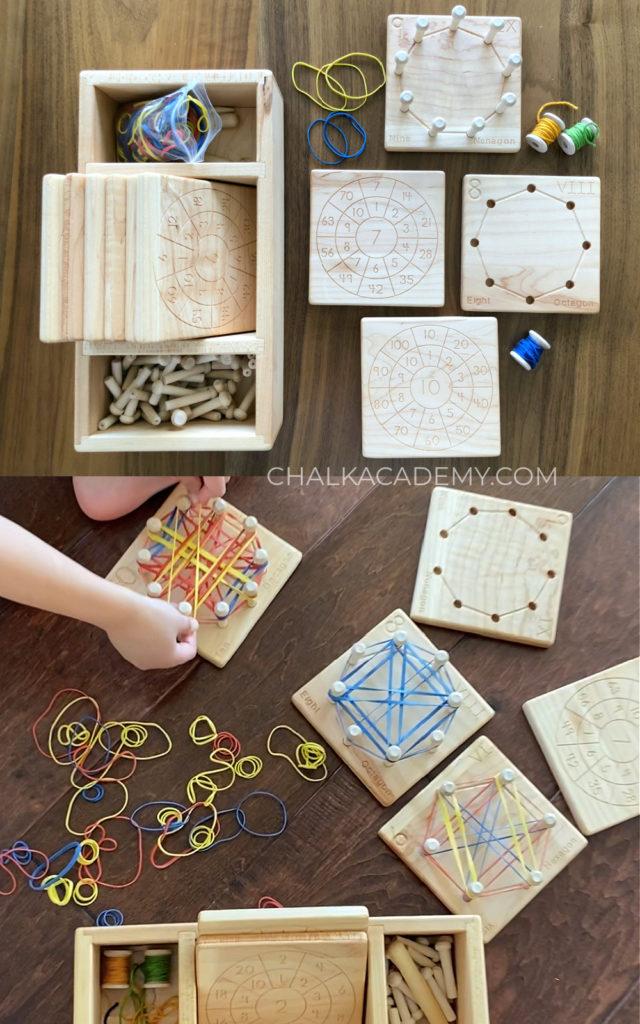Wood geometry and multiplication wheels Montessori Waldorf learning math toy