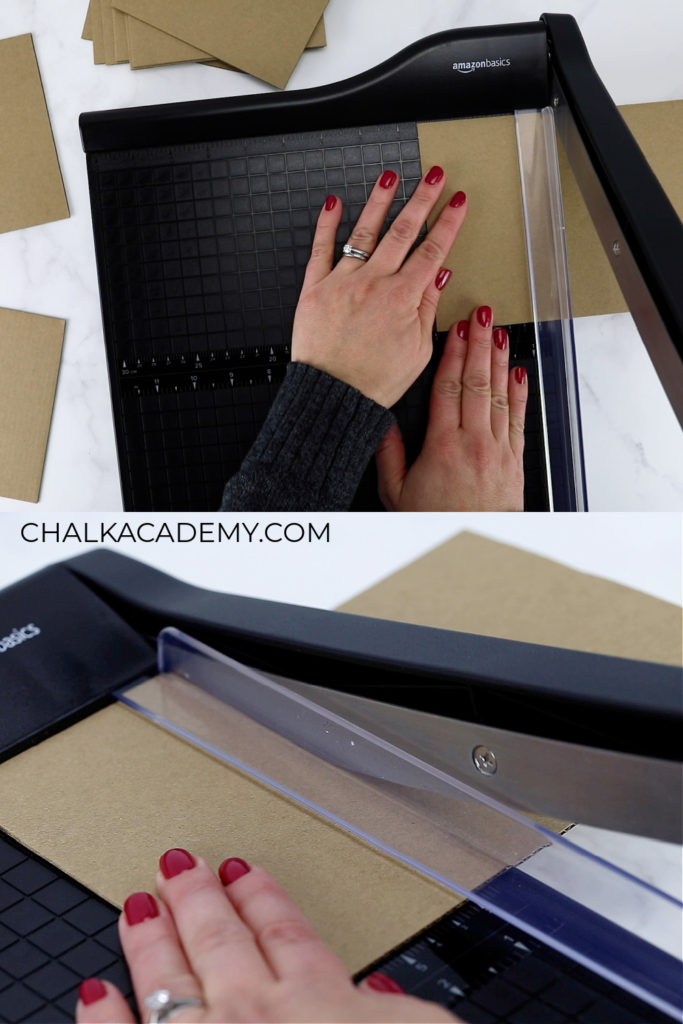 cutting cardboard with paper trimmer