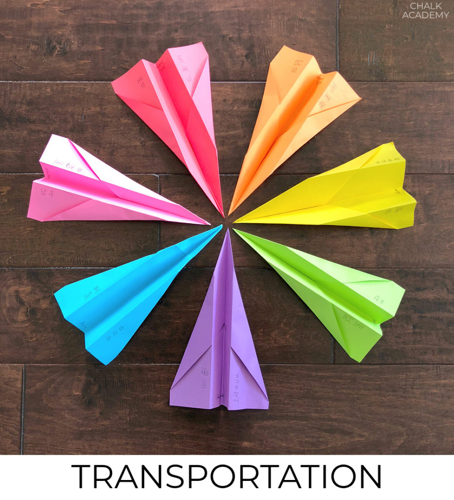 Bilingual transportation learning activities for kids